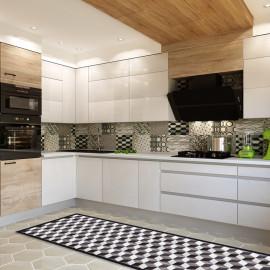 tapis cuisine carreaux noirs tapis de cuisine carreaux ciment geometrique tapis cuisine optique