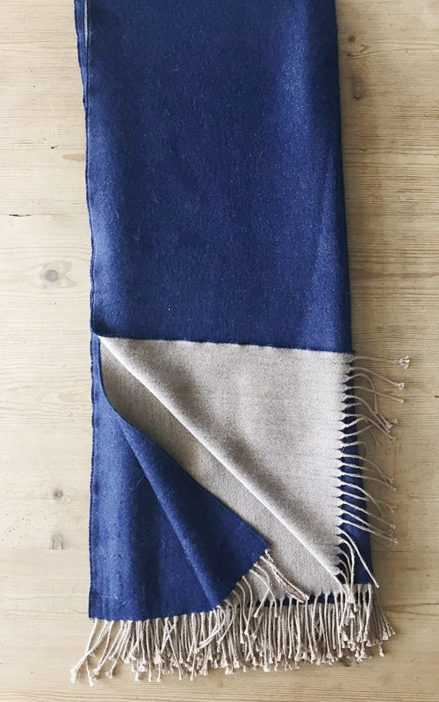 Pillows + Throws + Rugs, Alpaca Double Faced Throw-Indigo and Light Camel Color