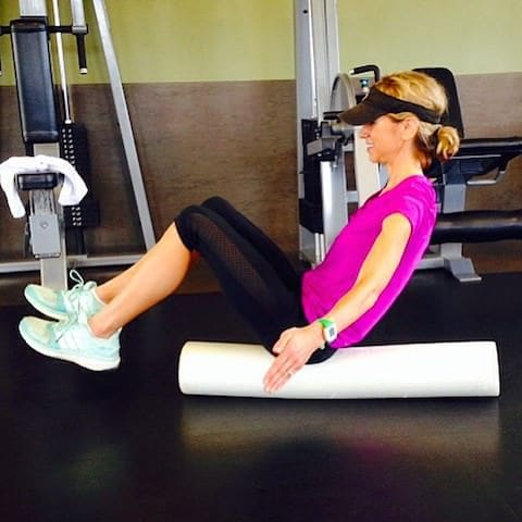 boat pose on foam roller. Great for balance and core work. Hold the position as long as you can!