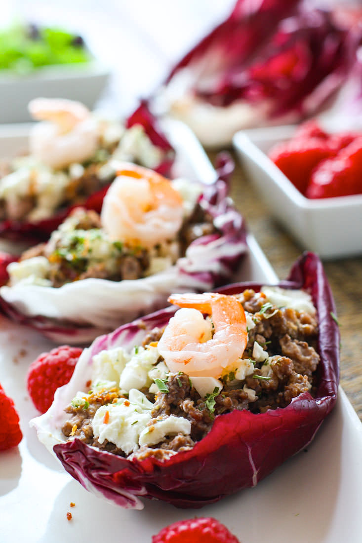 Gluten-Free-Slow-Cooker-Pork-Stuffed-Radicchio-Cups. Gluten Free Slow Cooker Raspberry Pork Radicchio Wraps. Sounds fancy but it's such an easy recipe to make and serve in the slow cooker! A flavorful healthy dish your whole family will love! Great for a meal or a gluten free appetizer.