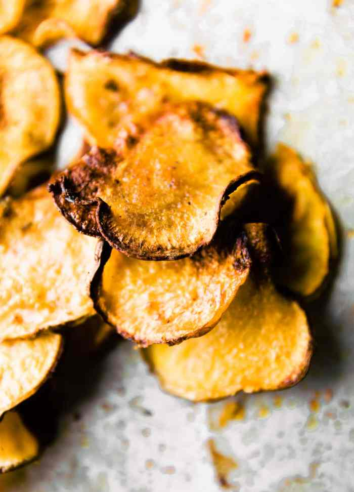 Gluten free BBQ Baked Rutabaga Chips! Healthy flavorful side dish for Summer BBQ's or any time of year! Rutabaga is a root vegetable that's easy to bake and cook with! These chips are super tasty, kid friendly, and naturally paleo, vegan, and whole 30
