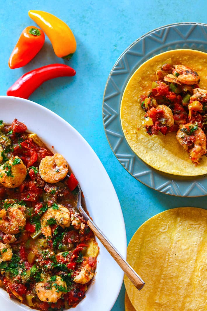 Gluten Free Crock Pot Fire Roasted Shrimp Tacos! We love making crock pot tacos. This recipe requires little prep, but produces tons of flavor and nutrients! Great for busy days and easy dinners! #cottercrunch.com