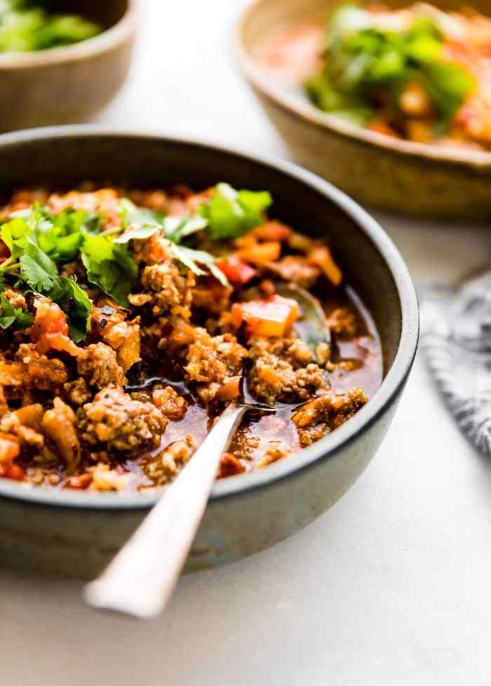 Crock potPaleo sweet potato chipotle chili with pork