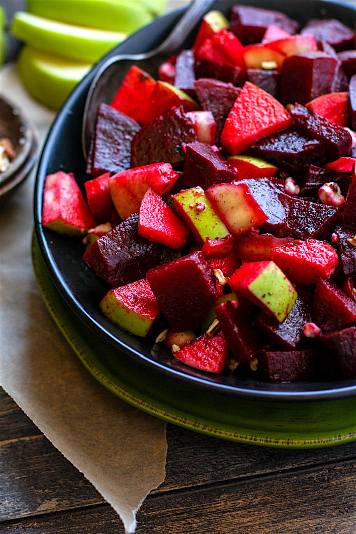 A super food salad! Vegan/Paleo Marinated Beet and Apple Salad with banana peppers and pecans. a great side dish rich in antioxidants and full of flavor!