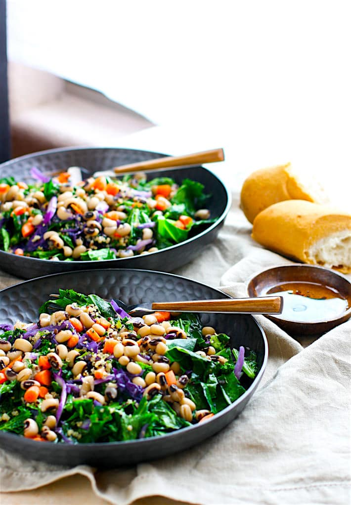 Vegan Rainbow Power Greens Salad with Black Eyed Peas. A healthy gluten free power greens salad packed with lucky black eyed peas and super nutrients. A great way to start off the new year and get back on track with clean eating. Easy to make and full of flavor!