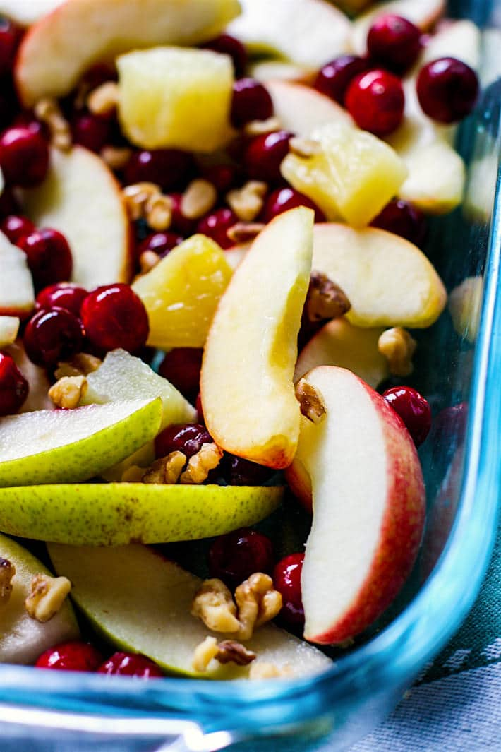 Easy Spiced Hot Fruit Bake! A nutritious dish to add to your Christmas or New Year's Brunch!