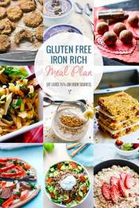 Iron Rich Healthy Gluten Free Meal Plan Ideas {Snacks and Meals with at Least 15% DRI Iron}