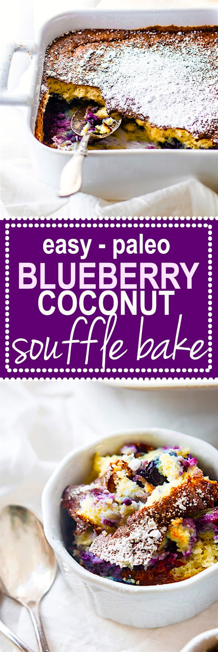 DREAMY Paleo Blueberry Coconut Soufflé Bake! Rich and creamy yet also airy and lightly sweet! This low carb paleo blueberry coconut soufflé bake is a twist on the classic French dish. A Healthy Fool Proof souffle that's great for a dessert or brunch! A custard like center but still light and flavorful. Feeds many, simple ingredients, and so delicious! @cottercrunch