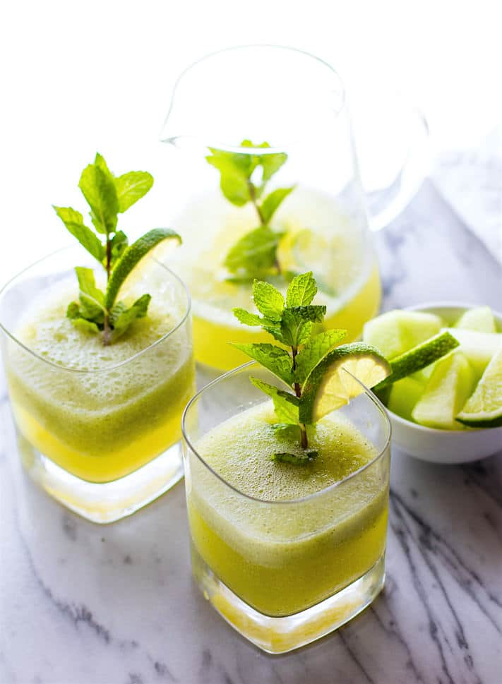 Sparkling Mint Melon Limeade! A Healthy bubbly limeade recipe to keep you cool! Paleo, Vegan, and just plain TASTY!