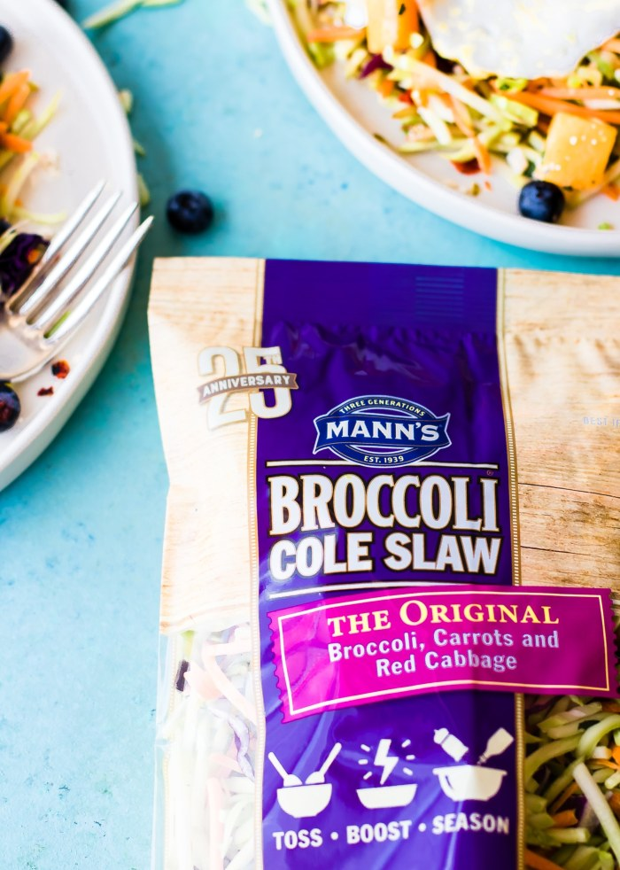 paleo warm breakfast salad with Mann's broccoli cole slaw. #whole30 #eatclean
