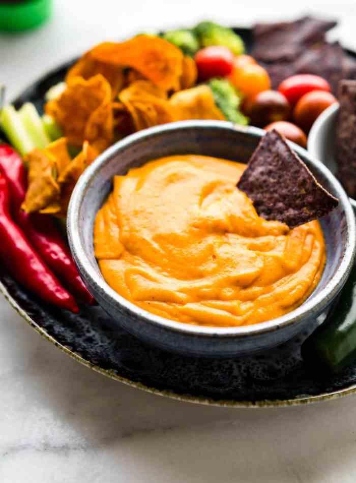 Vegan Salsa Con Queso for Leftover Turkey Nachos Salad!