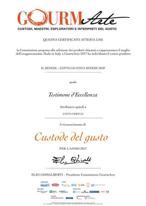ATTESTATO CINTA SENESE GOURMARTE 2017