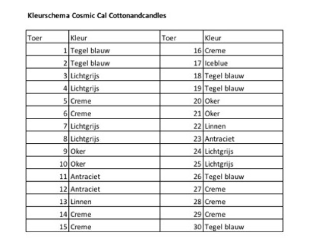 Kleurschema deel 1 Cosmic Cal Cottonandcandles