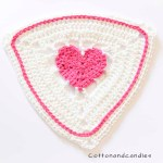 Crocheting a heart in a flag for Valentinesday
