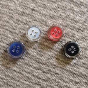 Rund halv blank knapp - Fanget farge liten
