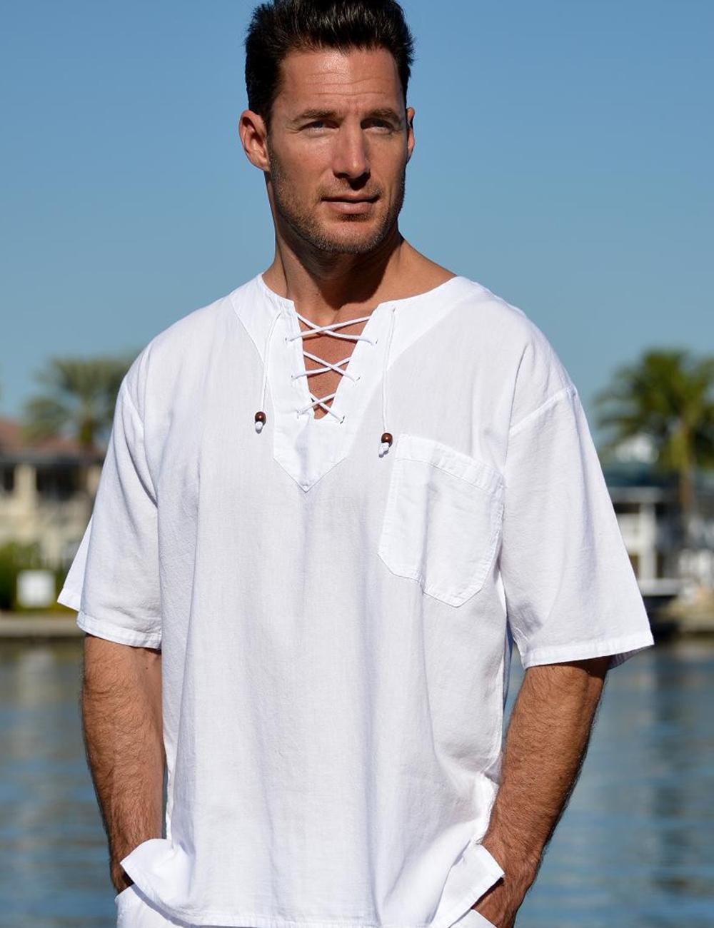 Hawaii V neck drawstring short sleeve shirt