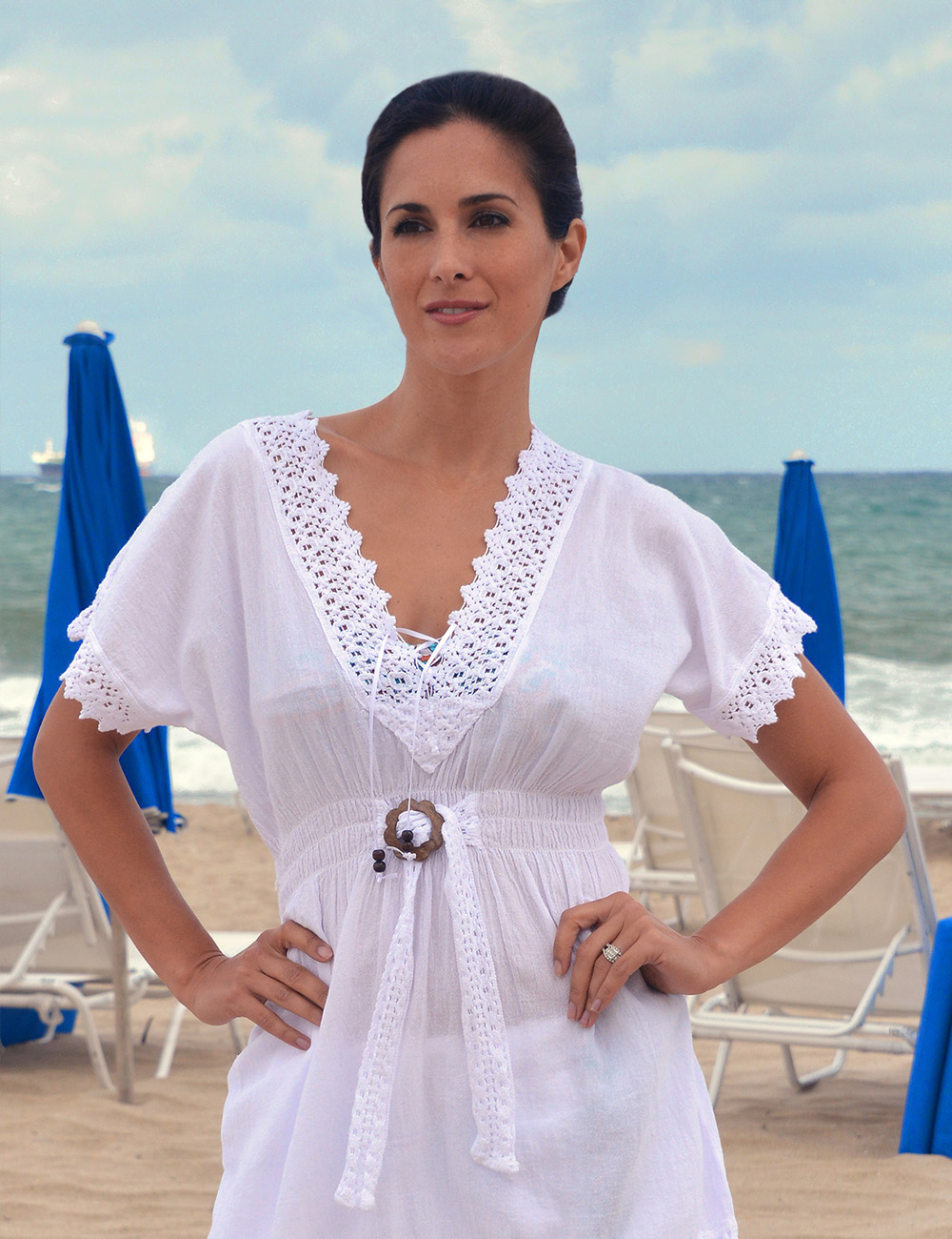 Lanzarote Ribbon V neck topcover up