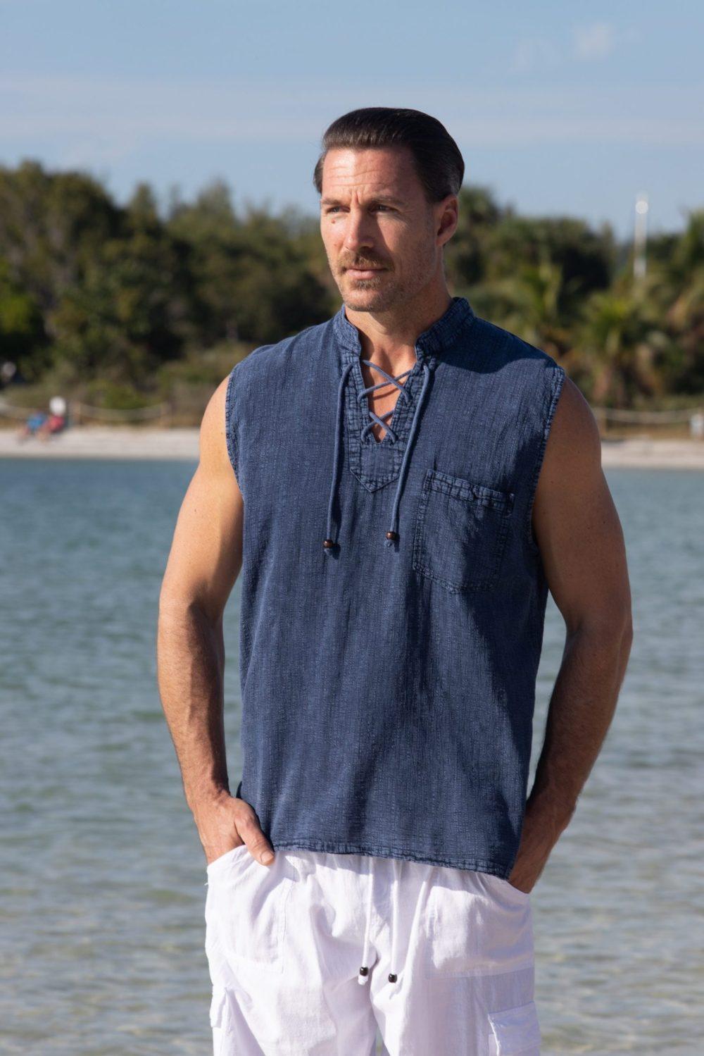 Mykonos Midnight Blue Sleeveless Shirt