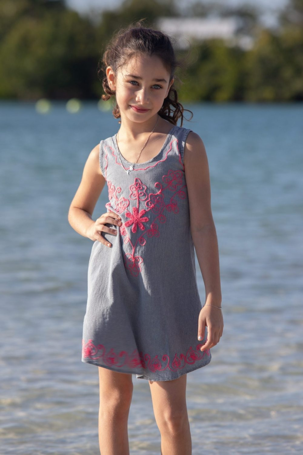 Girl's Flower Gray Dress