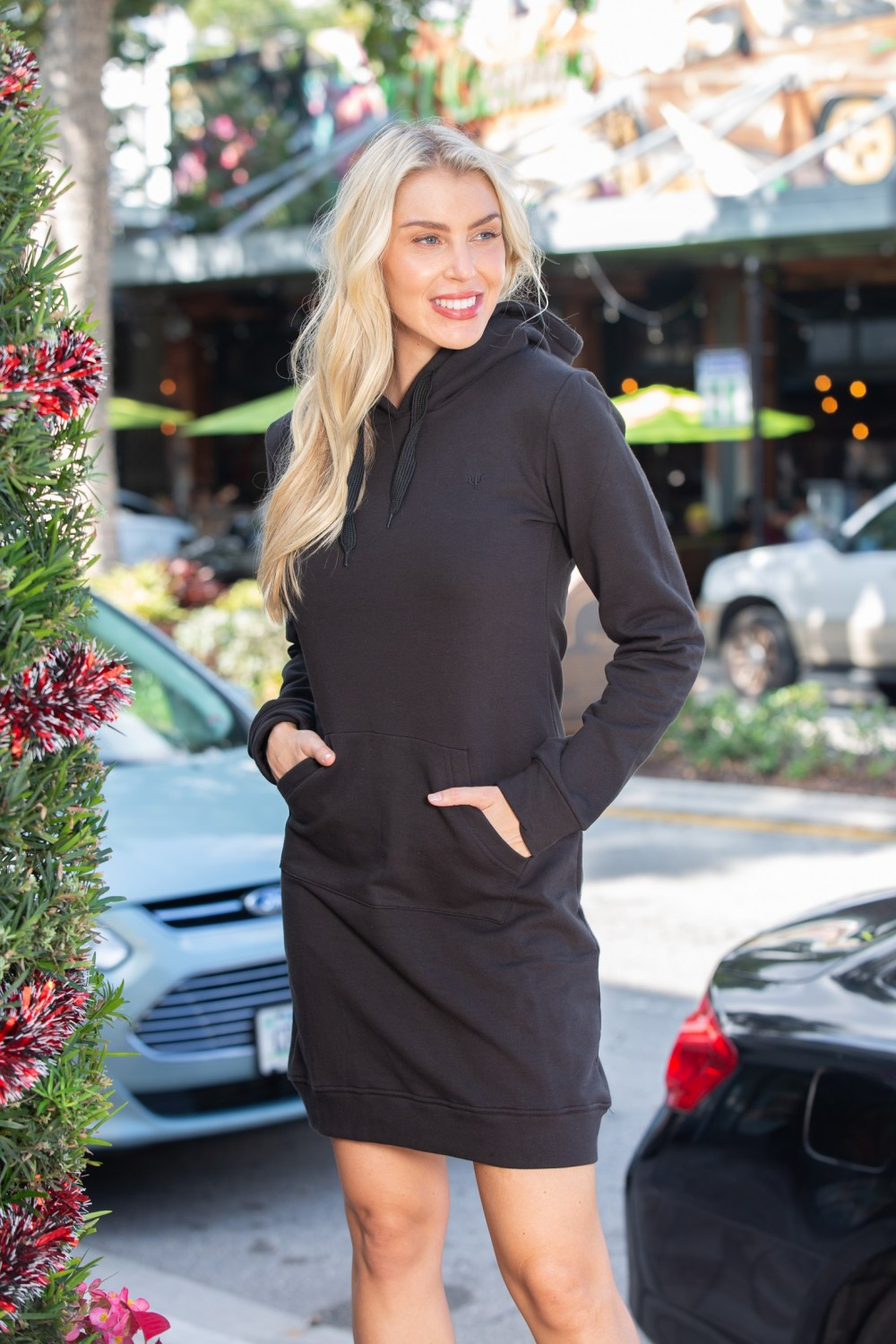 Sophie Black Hoodie Dress