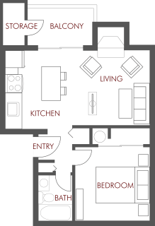 1 Bed / 1 Bath / 570 sq ft / Deposit: $200 * / Rent: $940
