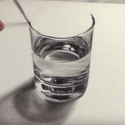 A Realistic Glass of Water Speed Drawing by Stefan Pabst