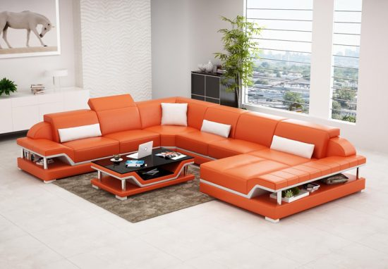 Orange Leather Sofas Bright Look With Warm And Comfortable Atmosphere