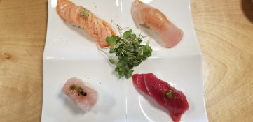Salmon Truffle, Hye, Bluefin Tuna, and Yellowtail