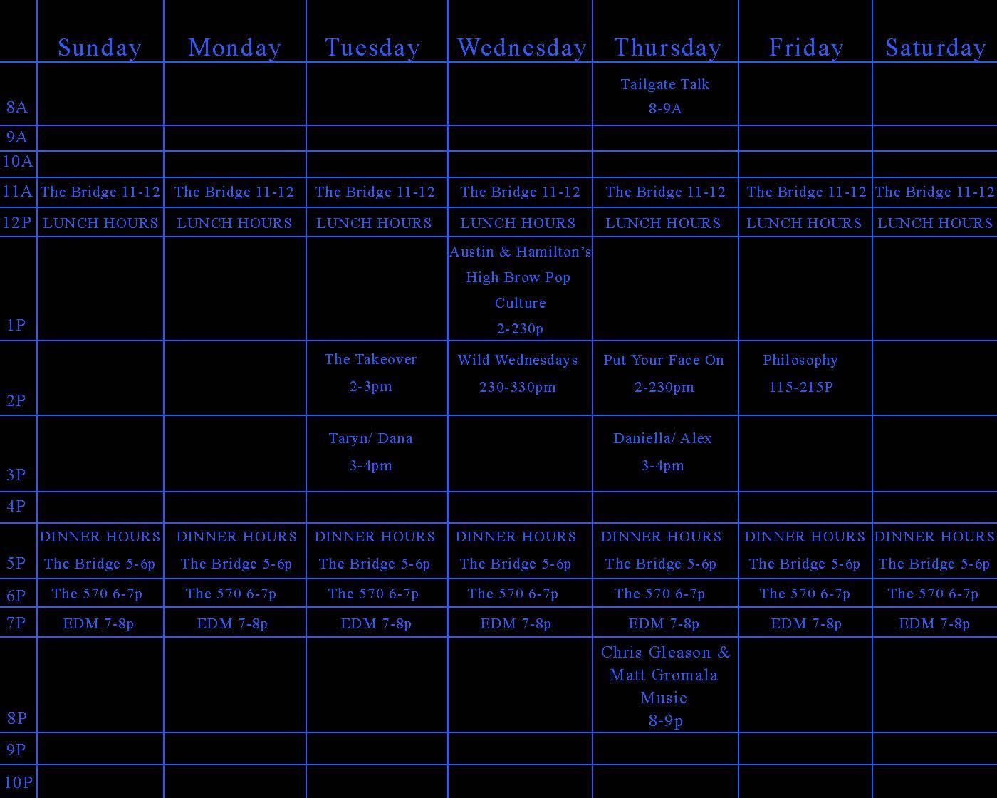 Schedule: Fall 2013