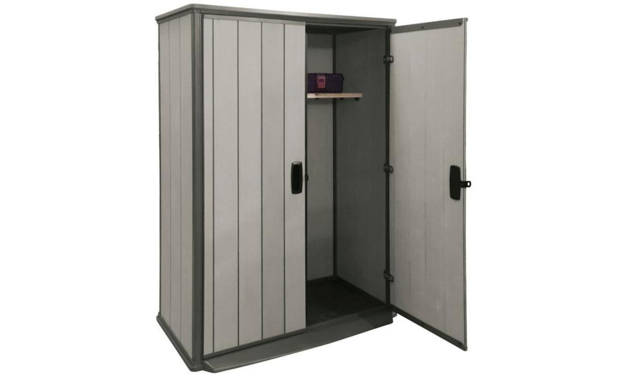 armoire de jardin en resine polypropylene coloris grise 138 x 80 5 x 185 cm achat vente armoire pas cher couleur et design fr