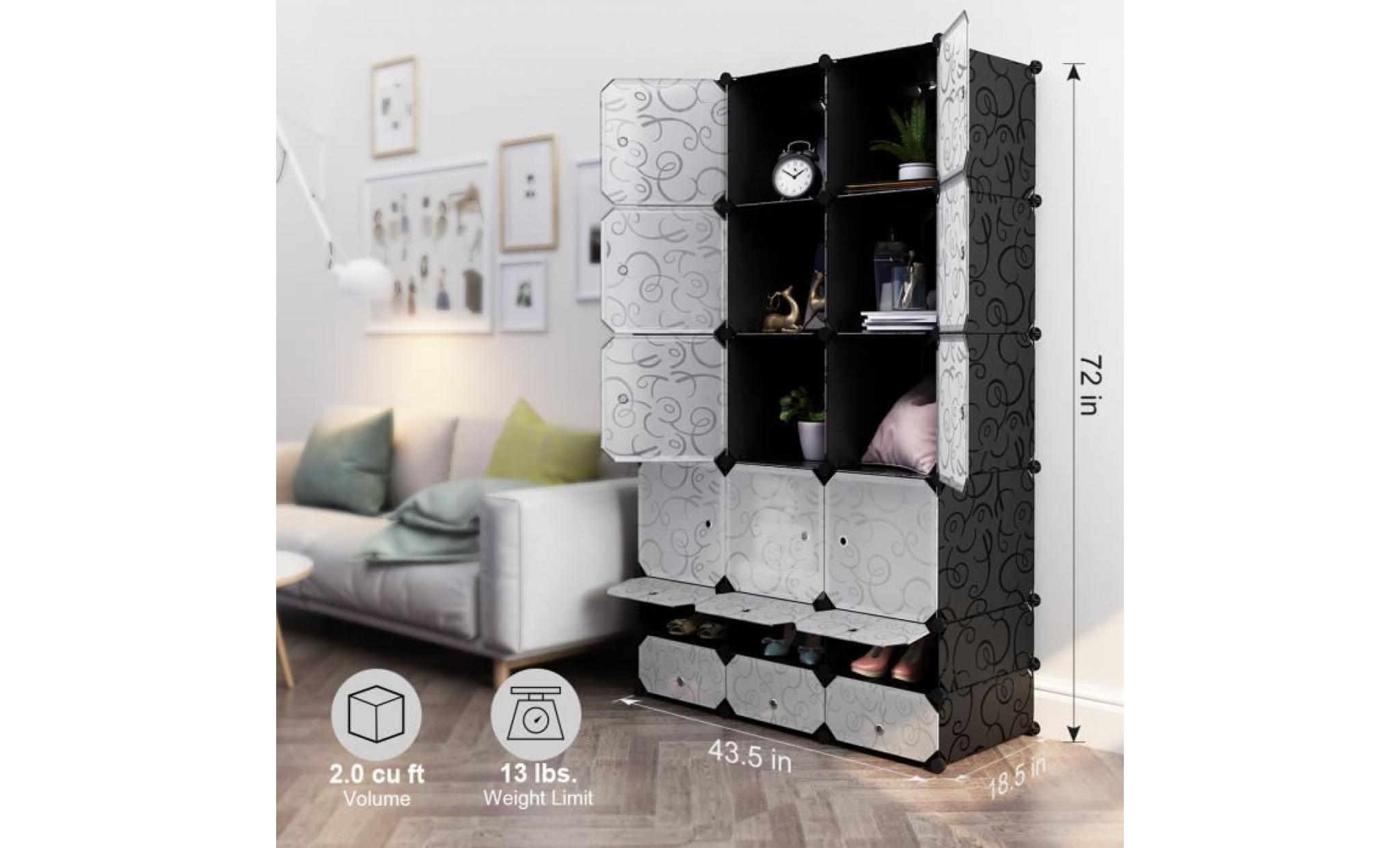 armoire langria 18 cube curly motif noir interlocking modulaire organisateur de rangement portes blancs translucides achat vente armoire pas cher couleur et design fr