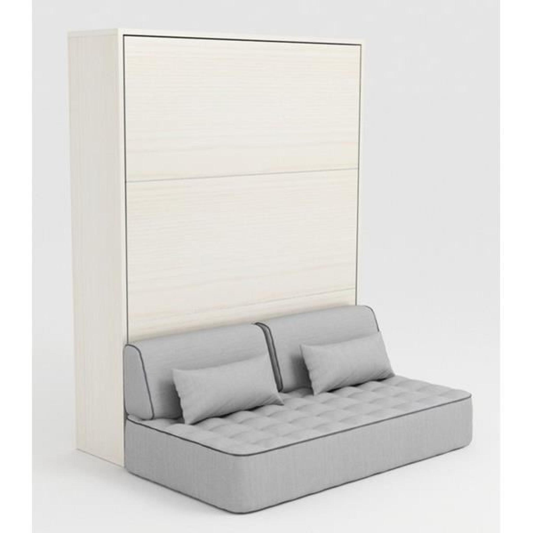 armoire lit escamotable stone 160x200 blanc canape