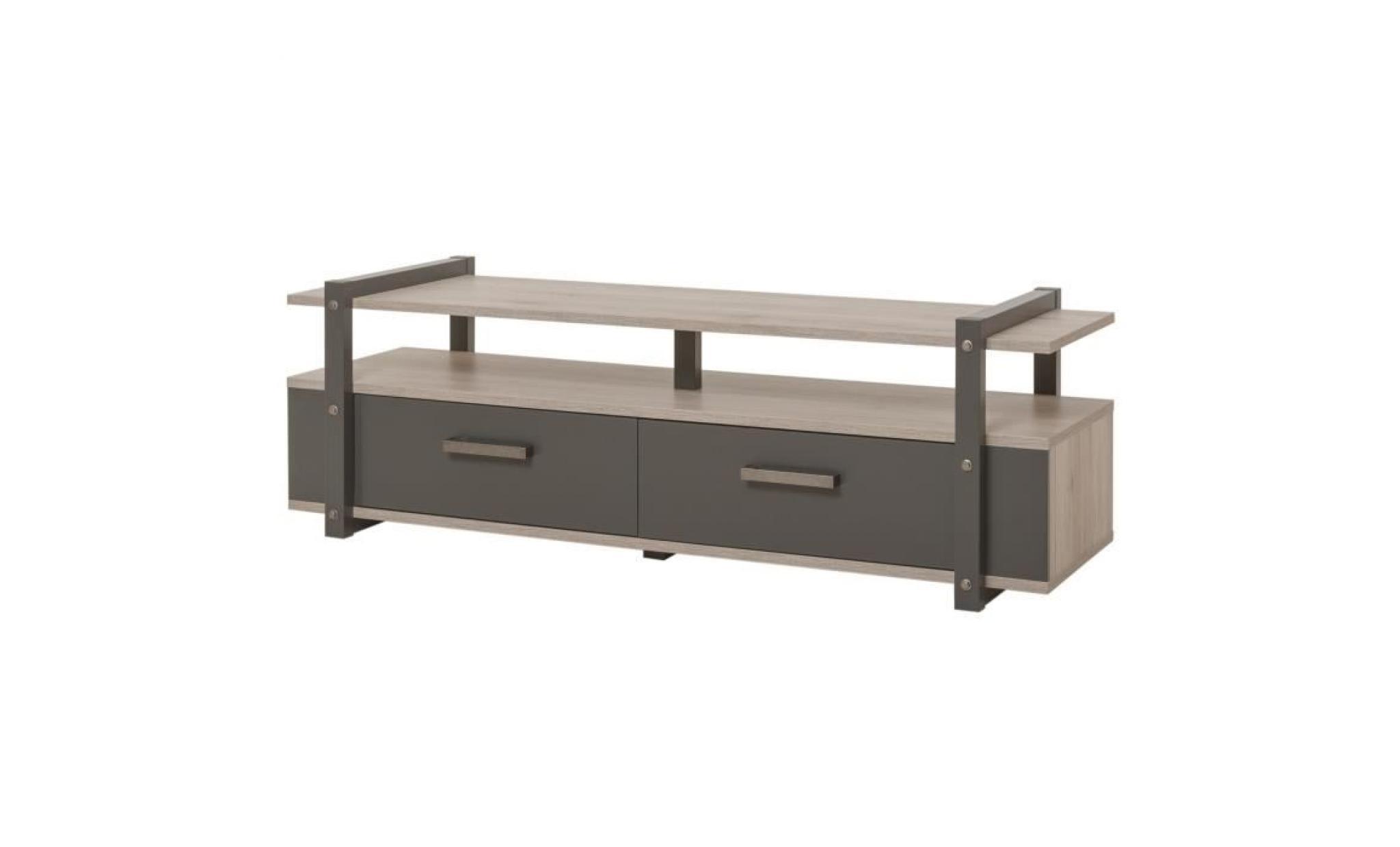 brooklyn meuble tv industriel decor chene et gris anthracite l 140 cm achat vente meuble tv pas cher couleur et design fr