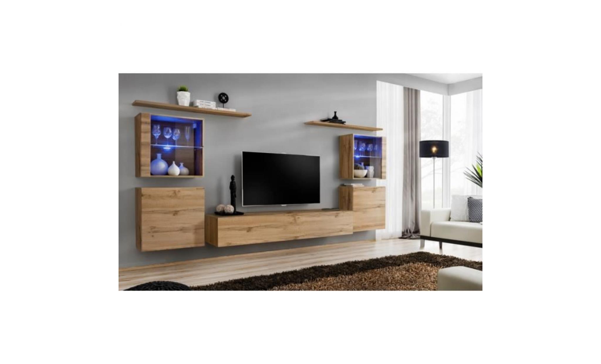 ensemble mural switch xiv 4 vitrines 1 banc tv 2 etageres bois et blanc modele 1 achat vente meuble tv pas cher couleur et design fr