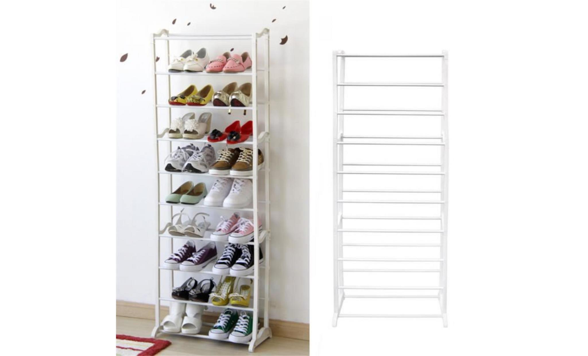 etagere a chaussures meuble a chaussures 10 tiers blanc achat vente meuble chaussure pas cher couleur et design fr