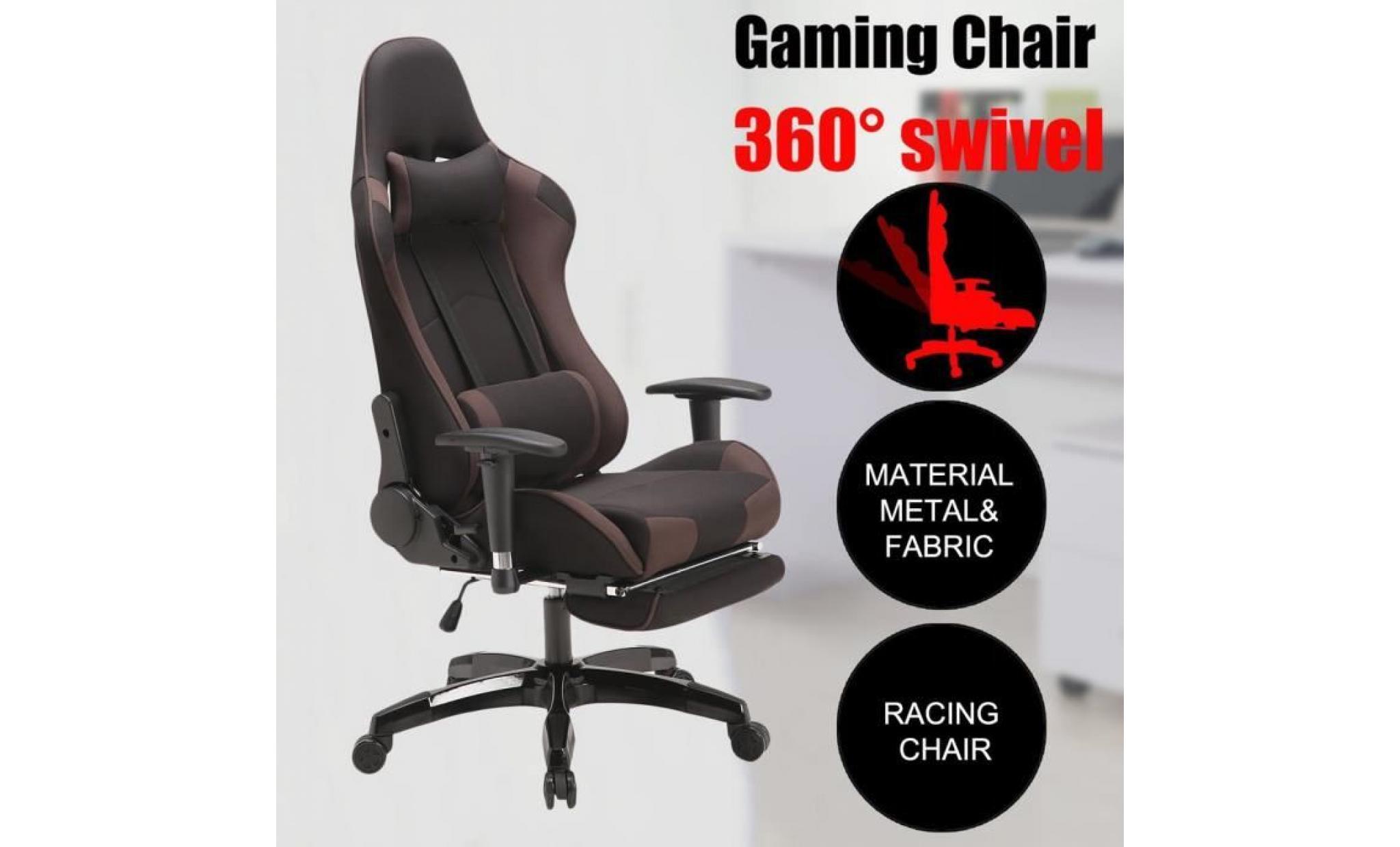 fauteuil gamer chaise de jeu fauteuil de bureau pivot tissu respirant avec appui tete et support lombaire noir achat vente fauteuil de bureau pas cher couleur et design fr
