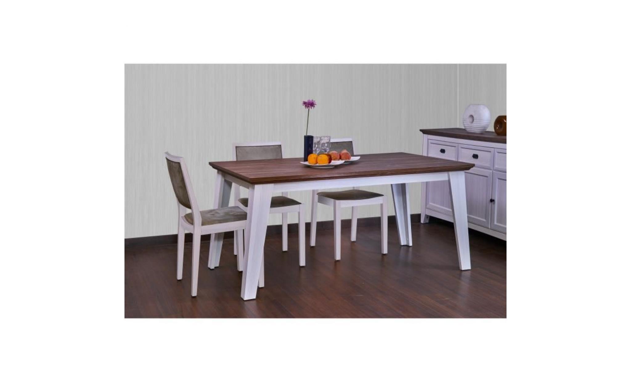 glenville table a manger classique de 6 a 8 personnes decor blanc patine et plateau decor chene l 160 x l 90 cm achat vente table salle a manger pas cher couleur et design fr