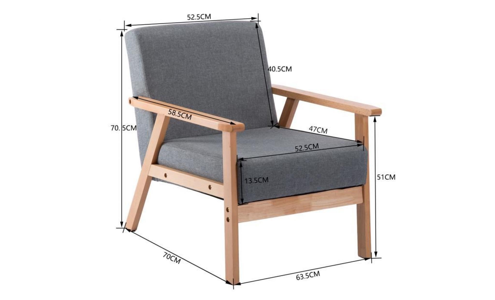 jkk fauteuil de salon chaise longue en tissu coton gris fonce petit canape chaise scandinave achat vente fauteuil de bureau pas cher couleur et design fr