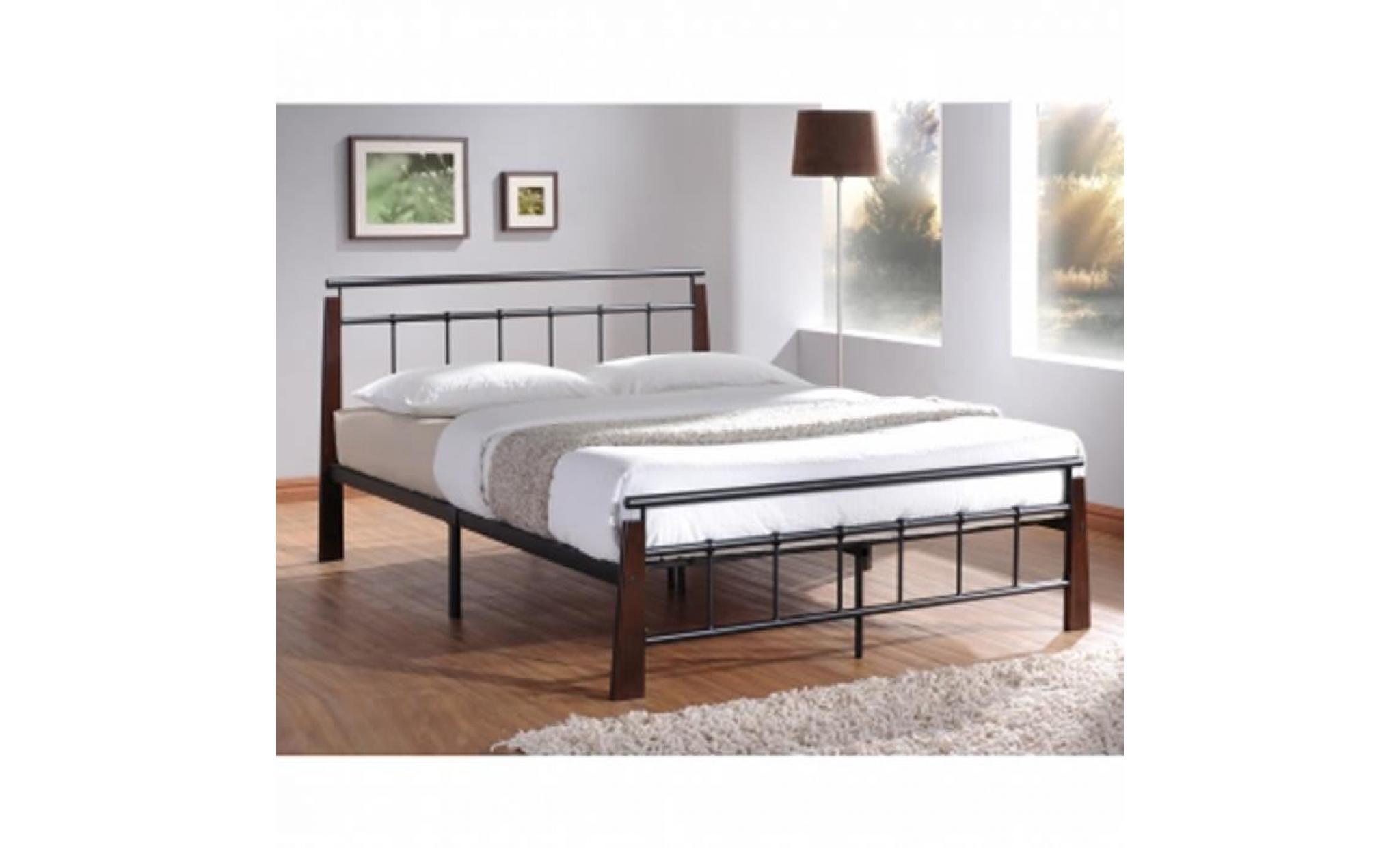 lit design en metal noir pieds de lit en bois achat vente lit pas cher couleur et design fr