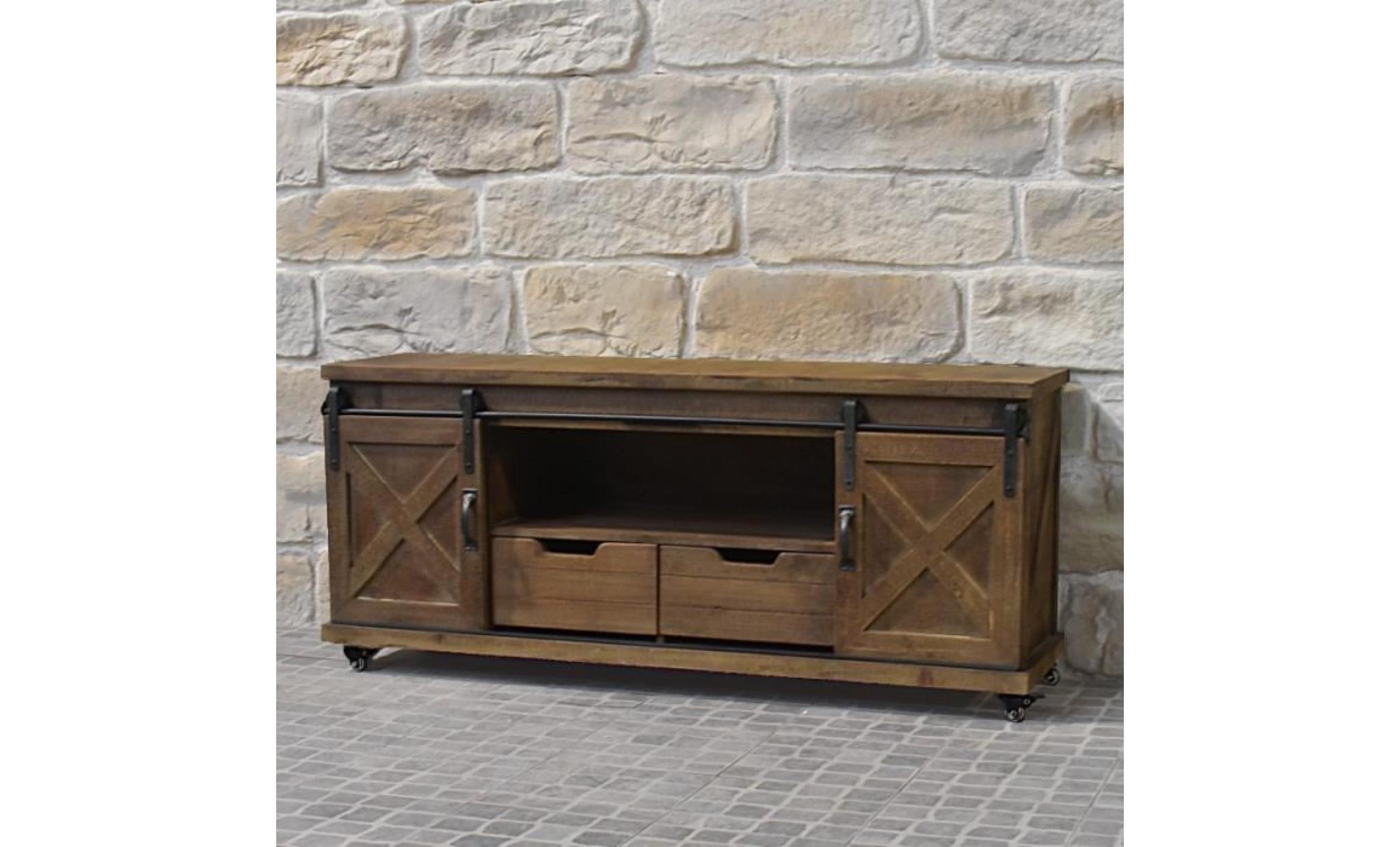 meuble tele tv industriel campagne en bois fer 140 cm achat vente meuble tv pas cher couleur et design fr