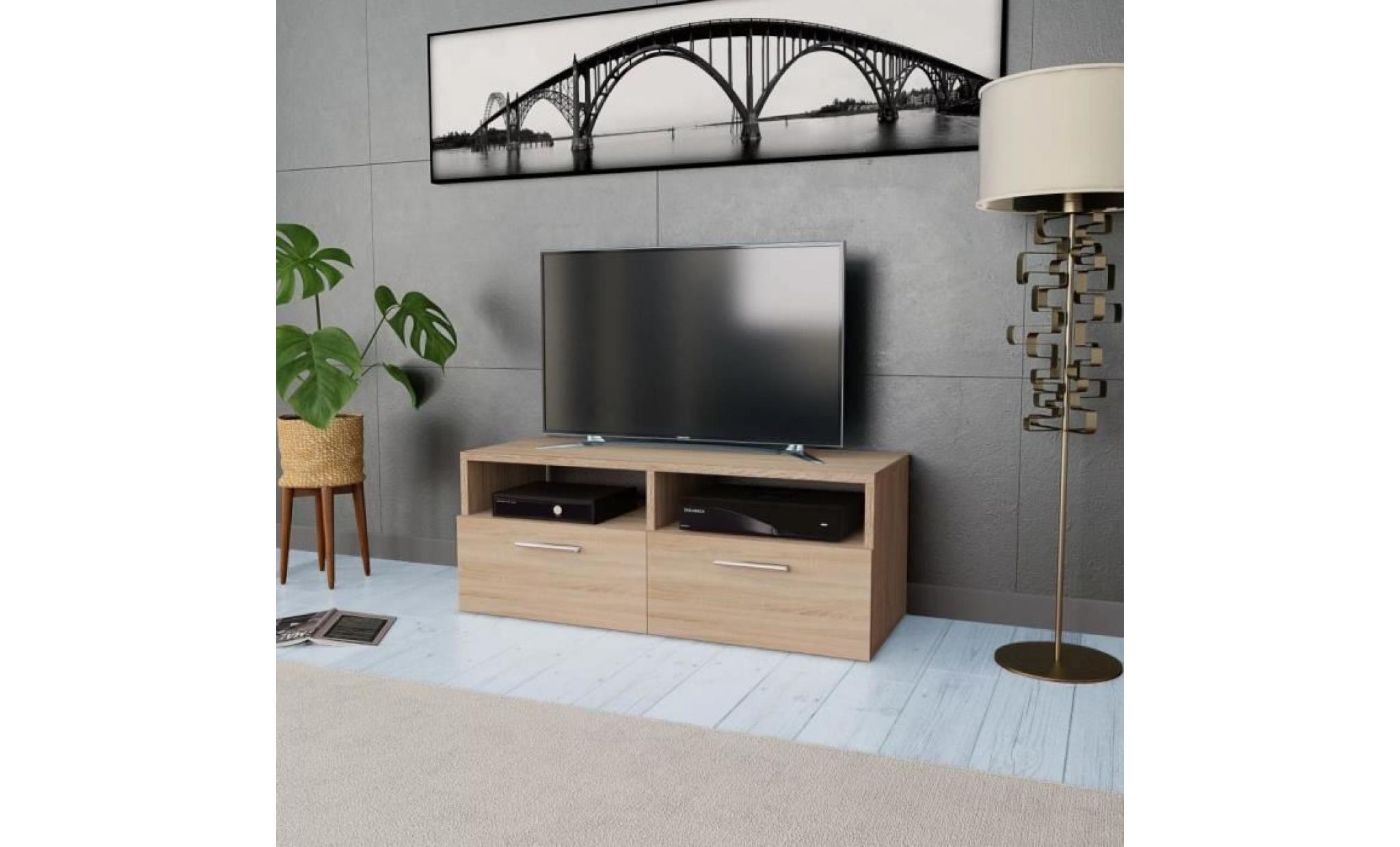 meuble tv agglomere 95 x 35 x 36 cm chene muble tv mural scandinave achat vente meuble tv pas cher couleur et design fr