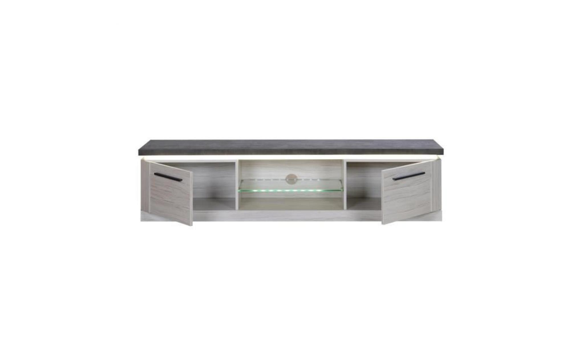 meuble tv chene gris ardoise himeji l 181 x l 46 x h 44 achat vente meuble tv pas cher couleur et design fr