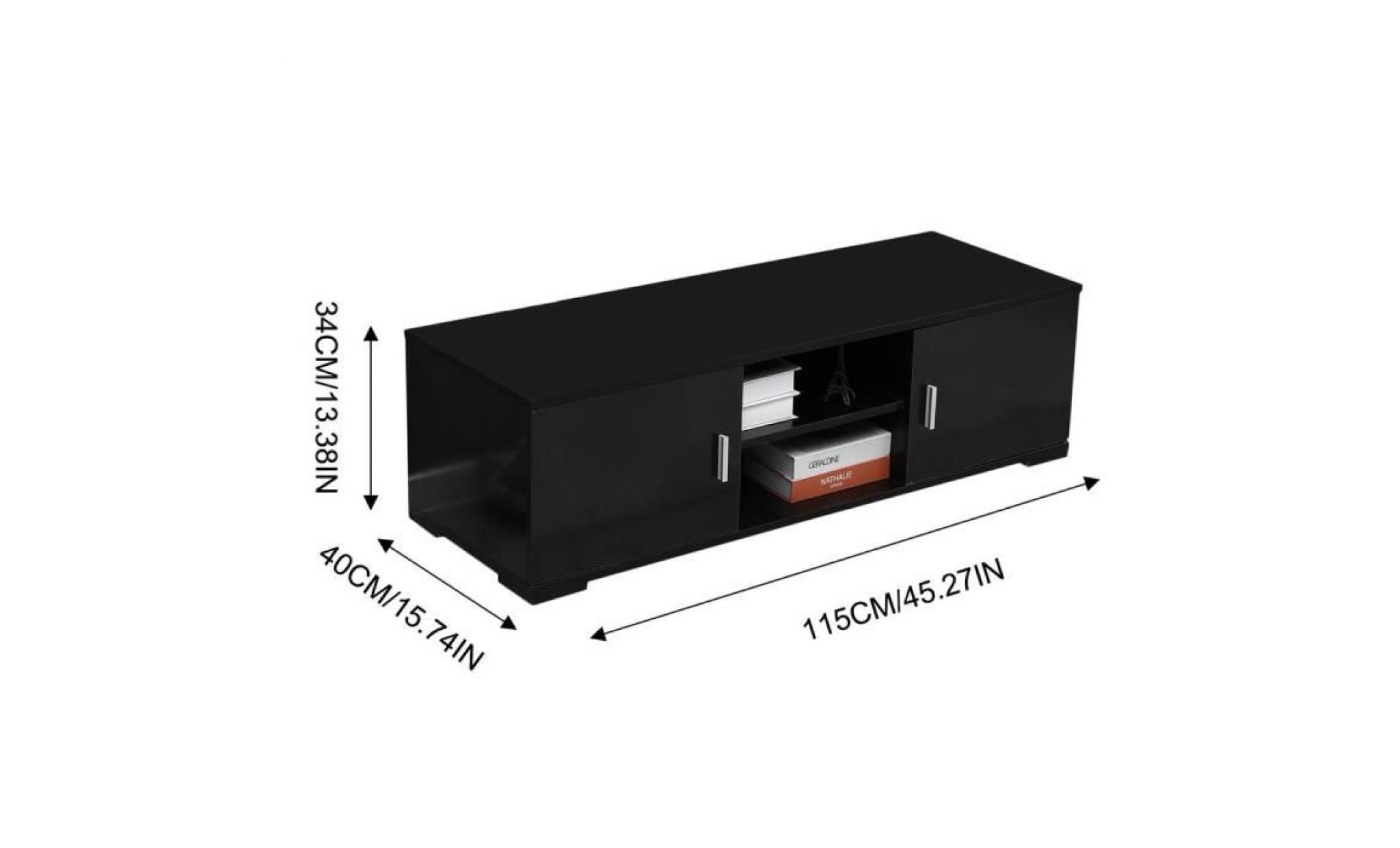 meuble tv design contemporain noir 115cm achat vente meuble tv pas cher couleur et design fr
