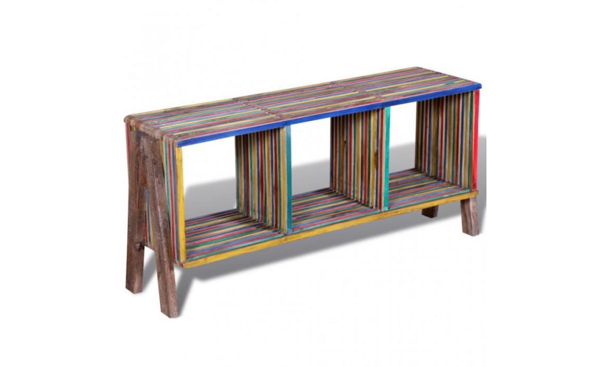 meuble tv empilable colore en teck recycle avec 3 etageres achat vente meuble tv pas cher couleur et design fr