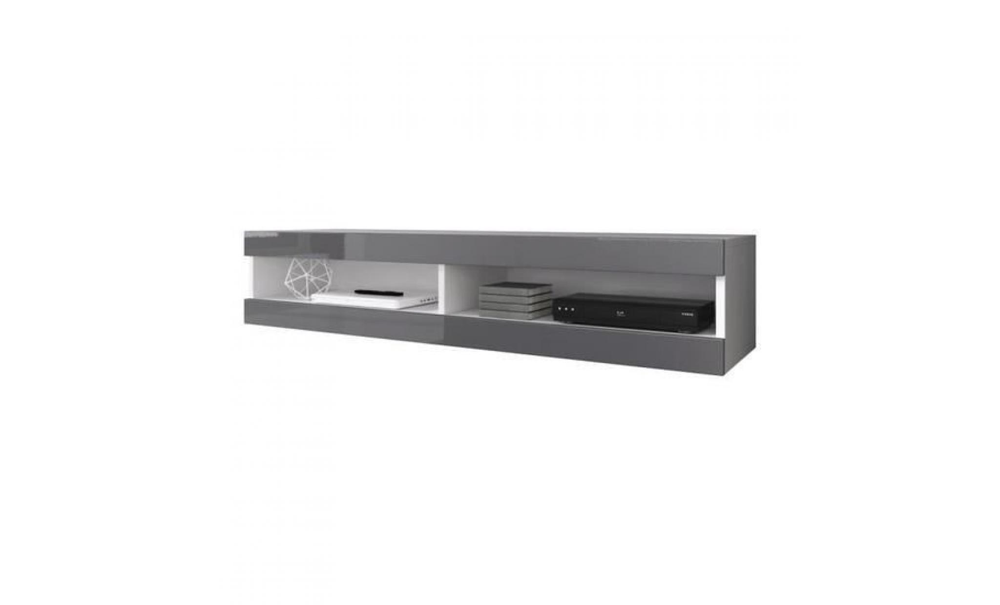 meuble tv suspendu blanc mat facade laque gris avec led achat vente meuble tv pas cher couleur et design fr
