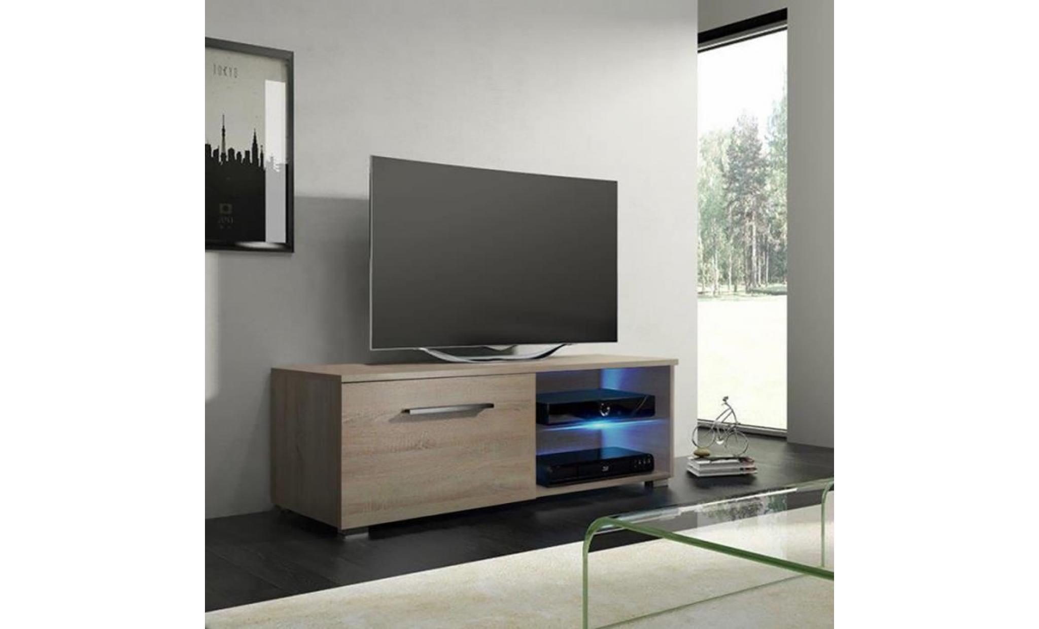 meuble tv meuble salon tenus single 100 cm effet chene avec led 2 compartiments ouverts style classique achat vente meuble tv pas cher couleur et design fr