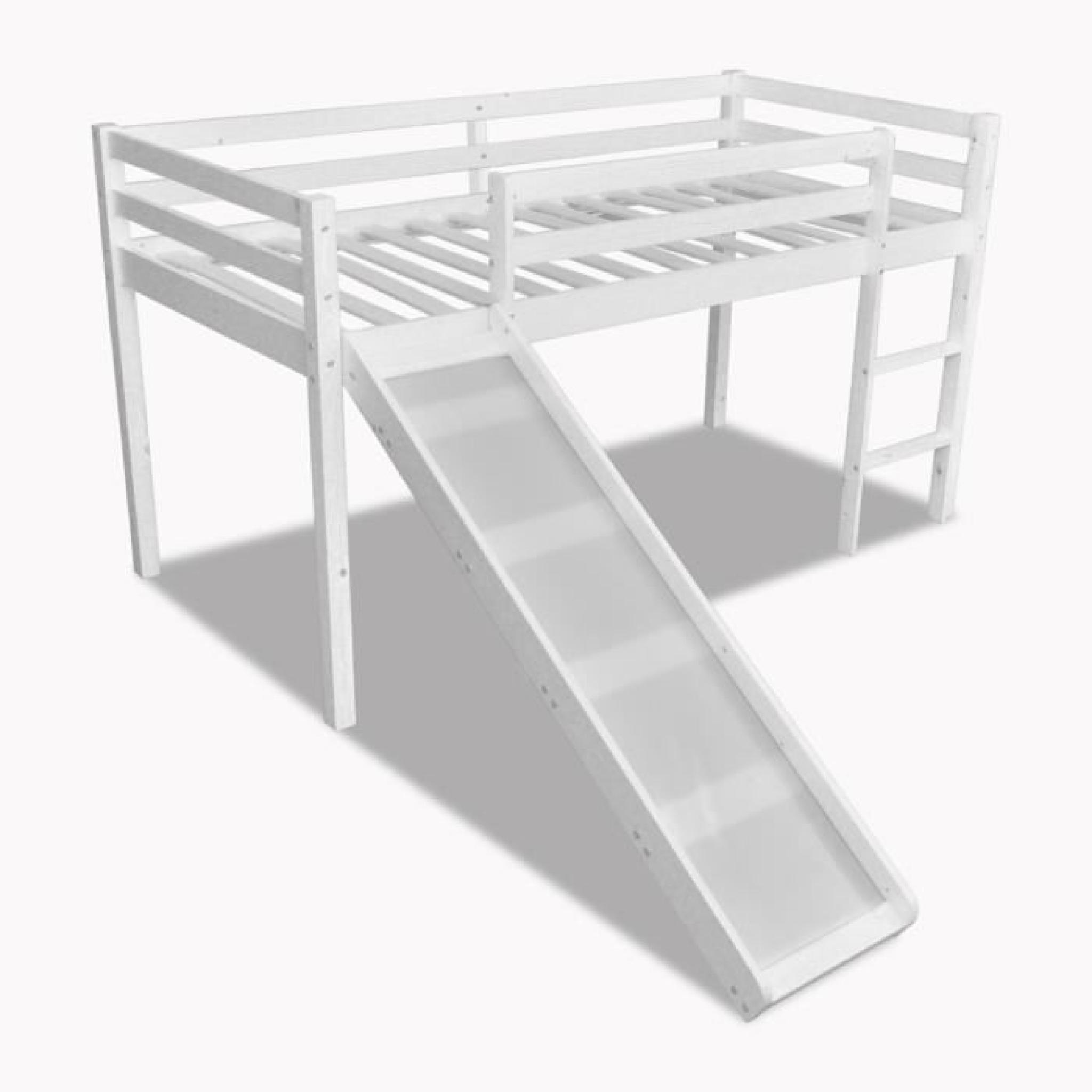 p36 lit mezzanine avec toboggan et echelle en bois blanc achat vente lit mezzanine pas cher couleur et design fr