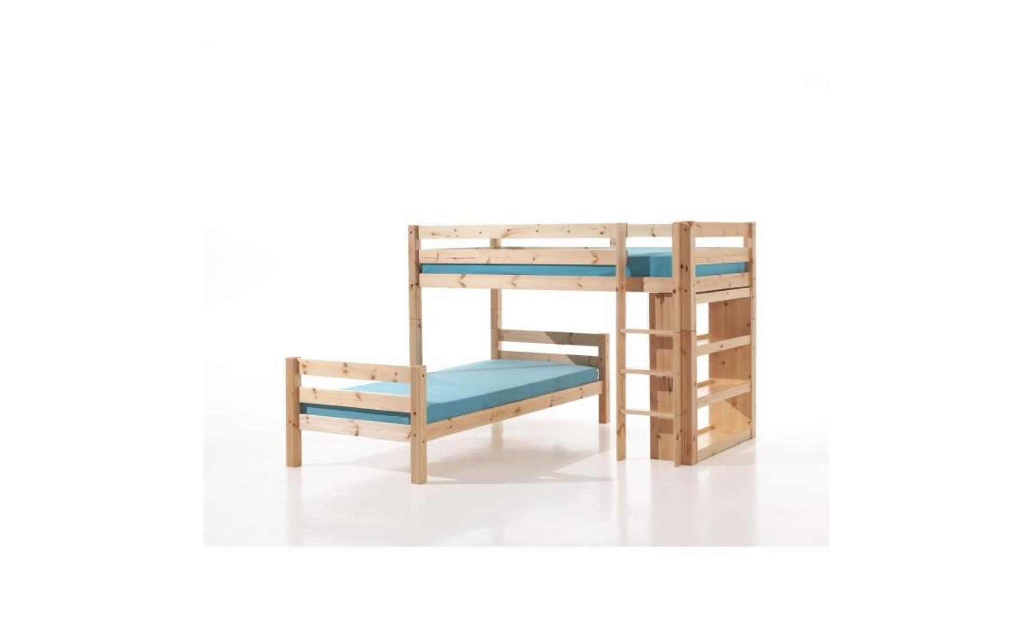 pino lit superpose angle 90x200 cm bois nature achat vente lit superpose pas cher couleur et design fr
