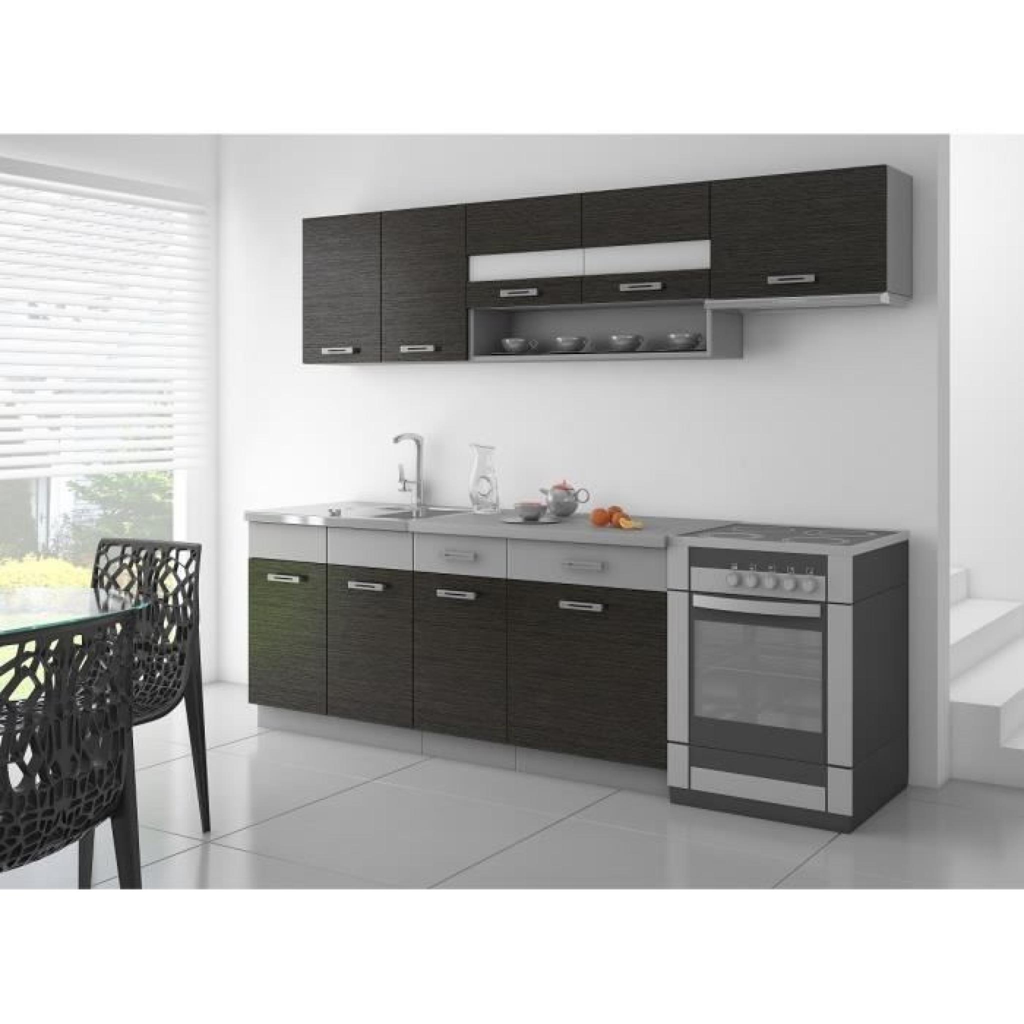 saphir cuisine complete 2m40 noir et gris mat achat vente cuisine complete pas cher couleur et design fr