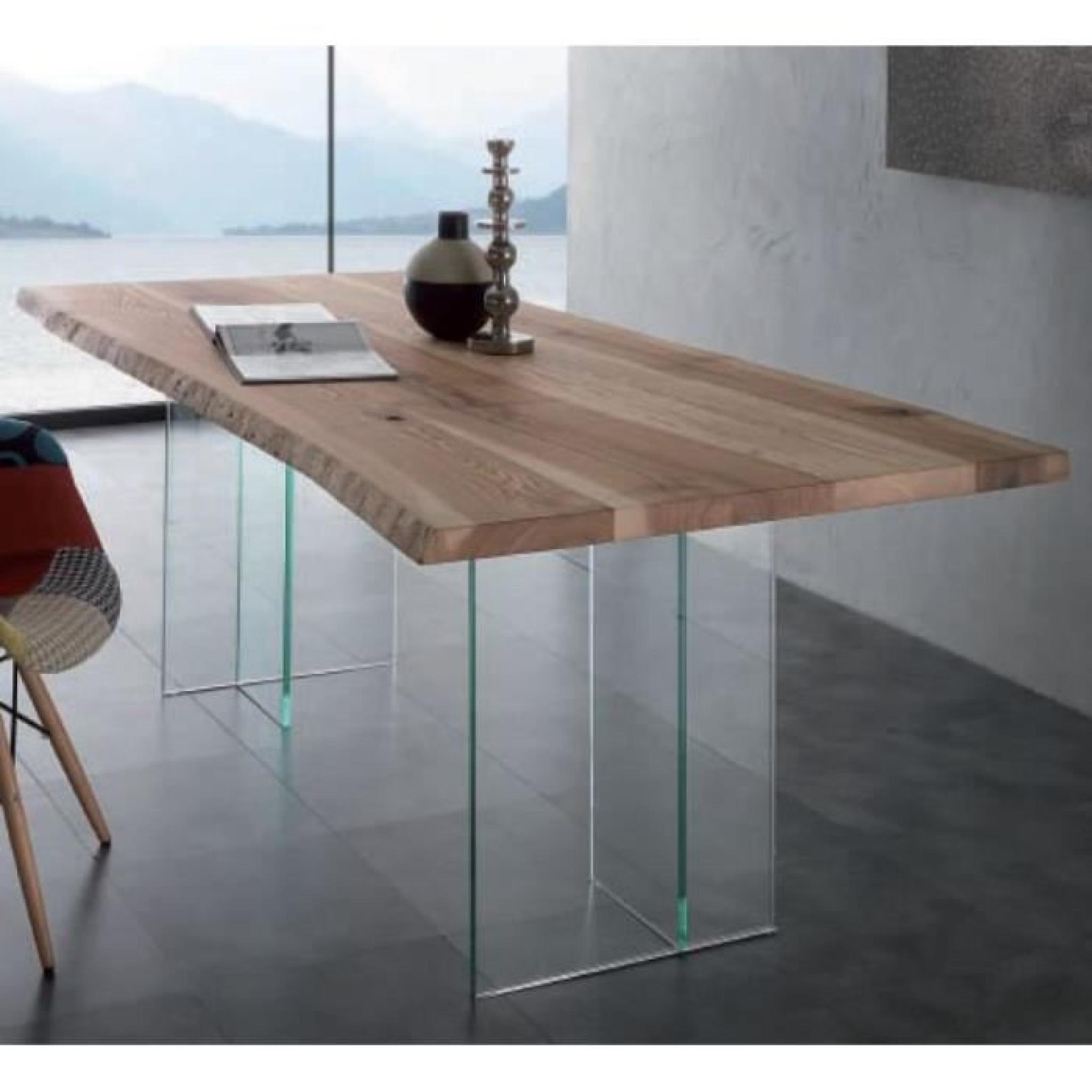 table repas bio glass en bois massif pietement achat vente table salle a manger pas cher couleur et design fr